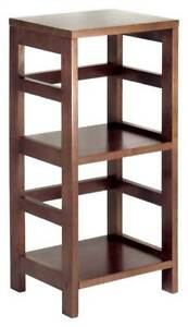 Square Display Table With 2 Shelves In Espresso id 6237