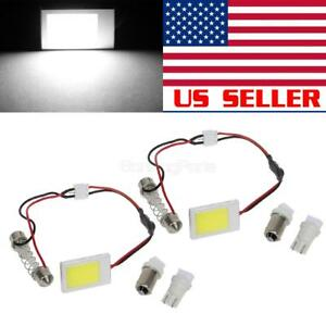 2x Universal Fit White Led Panel Lights Car Interior Dome Map Lamps Bulbs