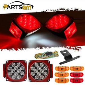 2xclear red Stop Turn Tail Lights 4xamber 2xred 2 57 2led Side Marker Utility