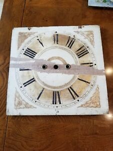 Old Wooden Clock Face W Tin Inlay See My Others Clock Faces In Collection Nice