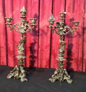 Great Pair Of Elaborate Antique Victorian 19 Figural Cast Metal Candelabra