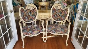 Vintage Pair Of French Style Carved Painted Frame Upholstered Eyelash Chairs