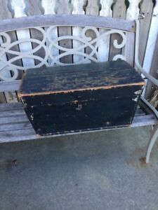 Antique Wood Immigrant Trunk Chest Document Box Old Black Paint Berg Chicago