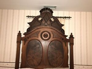 Wow Amazing Two Piece Antique 1800 S Victorian Walnut Bedroom Set Bed