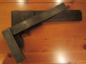 Vtg Machinist Large Moore Wright Precision Square With Wood Case England