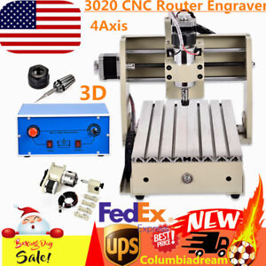 3020 Cnc Router Engraver 4axis 3d Cutter Engraving Machine Drill Mill Desktop Us