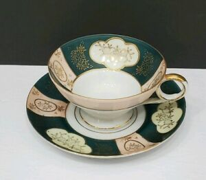 Royal Sealy China Cup Saucer Set Footed Green Pink Gold Floral Accents Japan