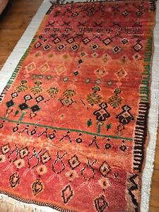 Genuine Antique Vintage Moroccan Berber Wool Rug Tufted Old Trible Kilim Large