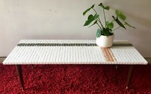 Vintage Mid Century Modern Mosaic Tile Top Coffee Table Eames Era