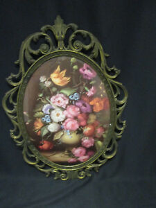 Vintage Ornate Oval Brass Picture Frame Made In Italy Antique Metal Frame