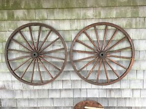 Antique Vintage Primitive Country Wagon Wheel Buggy Metal Wood 30 16 Spokes