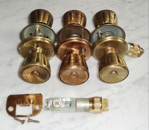 3 Vintage Carriage House Textured Copper Brass Crackle Fluted Door Knob Sets