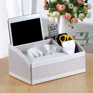 Multifunctional Desk Organizer Pad Notebook File Box Holder Small Tissue White
