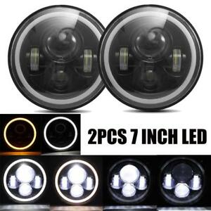 2x 7inch Round 150w Total Led Headlights Hi Lo 97 17 For Jeep Jk Tj Lj Wrangler