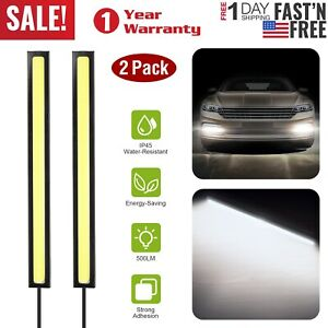 2x Cob Led Waterproof Daytime Running Lights Car Fog Driving Drl Lamp White 12v