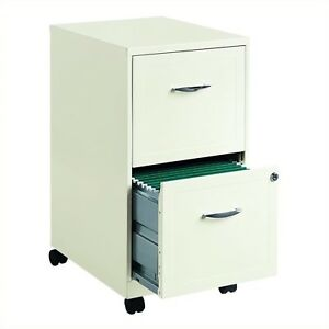 Office Designs Soho 18 inch Deep 2 drawer Mobile File Pearl White Beige