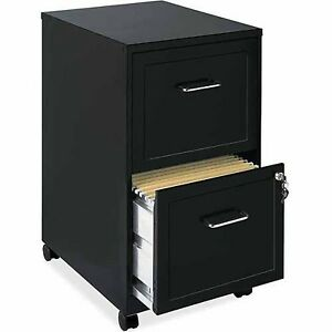 Lorell 2 Drawers Steel Vertical Lockable Filing Cabinet Black Unisex Letter