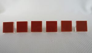 6 Vtg Deco Style Lucite Plastic Drawer Knobs Pulls Chunky Square 2 Tone 1960 70s