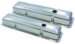 Sb Chevy Sbc Short Chrome Steel Valve Covers 1959 1986 283 327 350 W Grommets