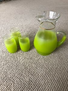 Antique Green Glass Pitcher With Glasses