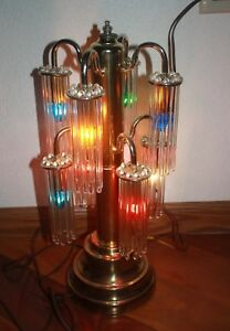 Vintage Gaetano Sciolari Lightolier Brass Table Lamp 8 Arms 80 Glass Rods