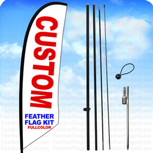 Custom Windless Swooper Flag Kit Feather Banner Sign 8 Ft Tall Set