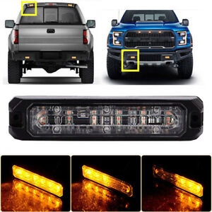 Amber 6 Led Grille Warning Vehicle Strobe Lights Side Marker Deck Dash