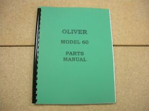 Oliver Model 60 Tractor Parts Manual New Free Shipping