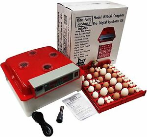 Rite Farm 3600 Pro Digital 144 Quail 36 Chicken Egg Incubator Kit Turner Fan