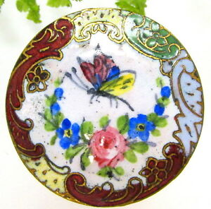 Colorful Antique Champleve Enamel Button W Flowers Butterfly G110