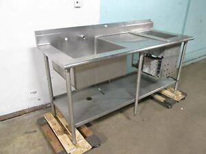 Heavy Duty Commercial Single Basin Prep Sink W refrigerated Chiller Well