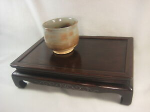 Antique Japanese Rosewood Ikebana Or Bonsai Stand Silver Inlay