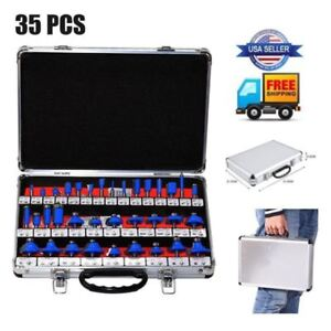 New Pro Router Bits Set 35 Pc 1 4 Inch Shank Carbide Kit Aluminum Case Sae Us