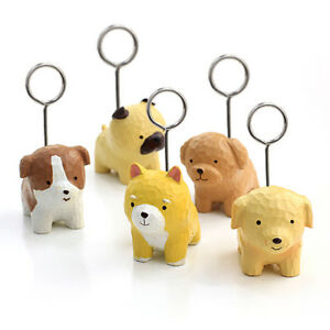 10 Pcs Cute Dog Shaped Resin Card Memo Photo Paper Clip Holder For Home Office