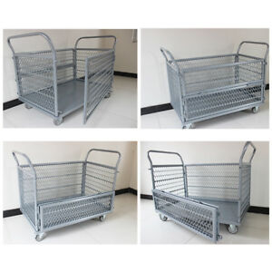 660lbs Foldable Wire Platform Truck Cart Cage Heavy Duty Rolling Silent Casters