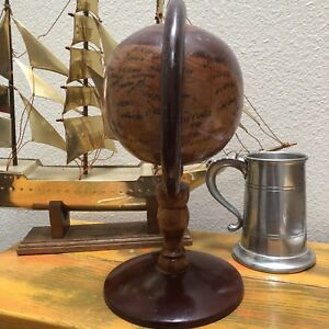 Vintage Wood French African Globe Antique Oak Map Brown