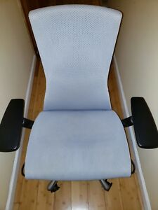 Herman Miller Embody Chair Polished Chrome Blue Rythem Fabric Fully Loaded