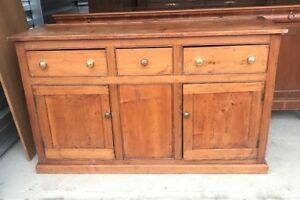 Vintage Antique Primitive Country Pine Server Cupboard Sideboard Buffet