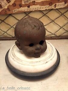 Rare Solid Copper 1930 S Doll Head Foundry Mold Large Creepy Must See L K