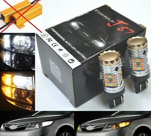 Canbus Error Free Led Light Switchback Amber White Two Bulb 7443 Turn Signal Drl