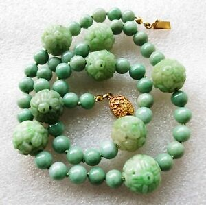 Vintage Antique Chinese Carved Qilin Jade Jadeite Beads Ster Necklace 19