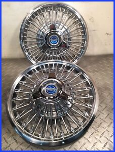 1965 66 Mustang Used Oem 48 Spoke 14 Blue Center Spinner Wire Hubcaps Two