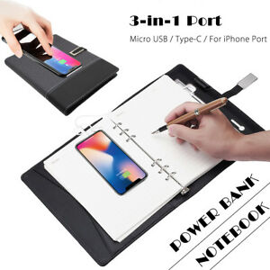 8000mah Usb Qi Wireless Charger Power Bank Business Notebook Wallet Card Holder
