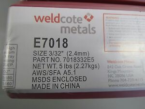 E7018 3 32 Welding Rod Electrode By Weldcote 10 Lbs 2 5 lb Boxes New