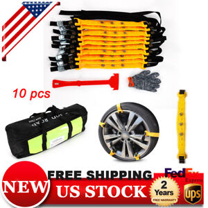 10pcs Kit Car Snow Tire Chains Beef Tendon Vehicles Wheel Antiskid Tpu Chain New