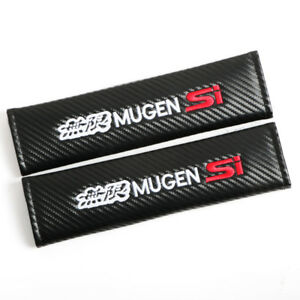 2x Mugen Si Carbon Look Embroidery Seat Belt Cover Shoulder Pad Universal Fit 9