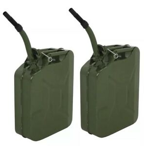 2 Jerry Can 5 Gallon 20l Gas Gasoline Fuel Army Nato Metal Steel Tank