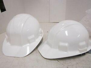 Lot Of 2 White Jackson Safety Sentry Iii Hard Hat 6 Point Pin lock Suspension