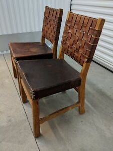 2 Original Vintage Ranch Oak Brandt Dining Side Chairs Spanish Style Mission