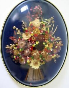 Vintage Large Oval Dome Frame Dried Bouquet Fleurs Straw Flowers Belgum
